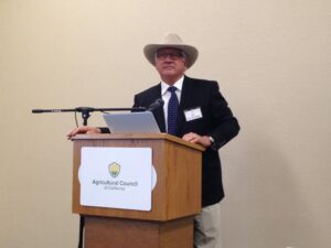 California Water Commission Vice-Chair Joe Del Bosque speaks at Ag Council's World Ag Expo breakfast.