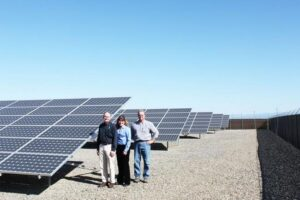(LtoR), BUCRA President and C.E.O. Carl Hoff, PG&E Division Manager Lia White, BUCRA Chairman of the Board Carl Lindhal gathered at the BUCRA solar array last week.