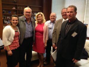 Senator Cathleen Galgiani (pictured 3rd from left) meets with (from left to right) Mary Mohler, Leroy Ornellas, Merlin Mohler, Steve DeBrum, and Kevin Ornellas