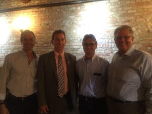 Senator Bob Wieckowski (pictured 2nd from left) with Ag Council dairymen (from left to right) Joey Fernandes, Ben Curti, and Steve DeBrum.