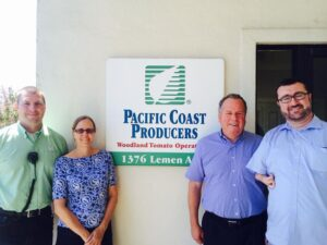 Pictured in photo from left to right: Chris Ward, Plant Manager with Pacific Coast Producers, Mona Shulman, VP & General Counsel with Pacific Coast Producers, Assemblyman Bill Dodd (D-Napa), and Will Arnold with Senator Lois Wolk (D-Davis).