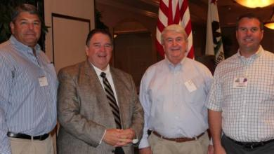 Attendees at the Allied Grape Grower annual meeting in Fresno include from left: Californians Michael Ming, Alliance Appraisal; Nat DiBuduo, Allied President-CEO; Greg Archer, Alliance Ag Services; and grape grower Mathew Andrew, Allied Board Chairman. (Photo courtesy: Western Farm Press)