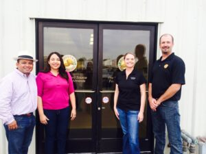 Pictured from L-R: Assemblymember Luis Alejo, Karina Cervantes Alejo, Kelly Covello (AHPA), and Dexter Long (Hilltop Ranch)